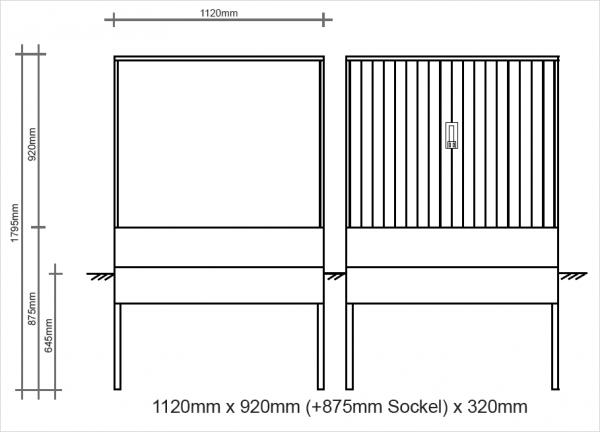 Polyesterkabelverteiler 1120x920x320mm