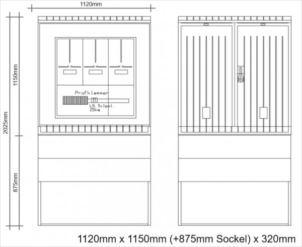 Messschrank 630A komplett 1120x1150x320mm