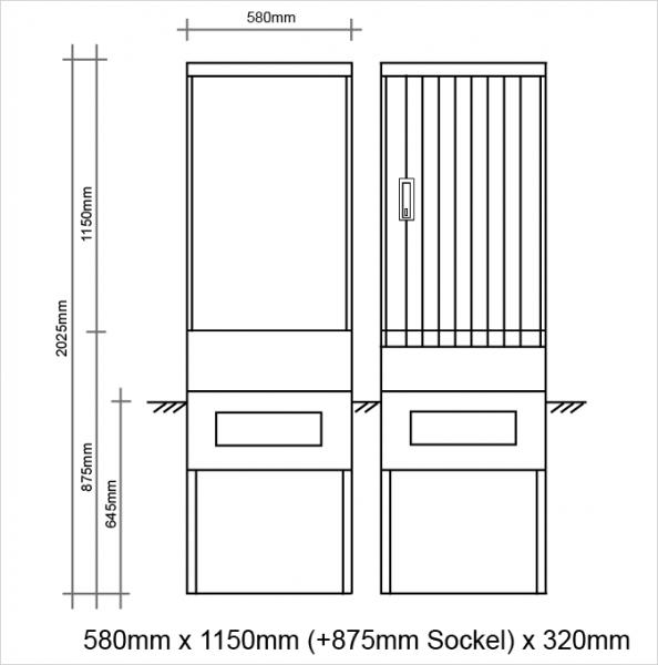 Polyesterkabelverteiler 600x1150x320mm