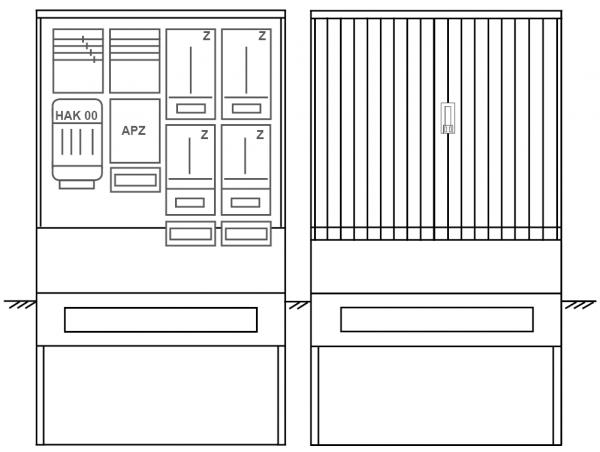 Zähleranschlusssäule PZ42-2222 Maße:1120x2025x320