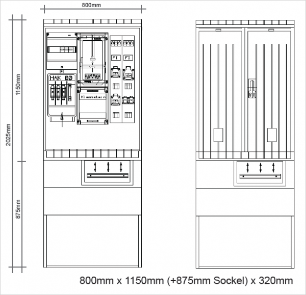 Festplatzverteiler Komplettschränke 800x1150x320mm