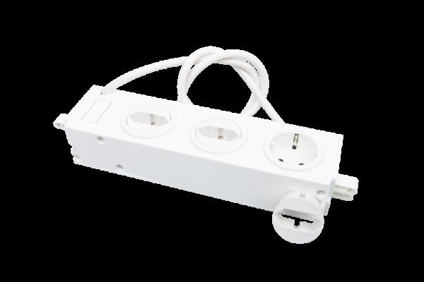 3-fach Steckdose, Einsätze je 90° drehbar + Kabel | für UMV-Verteiler