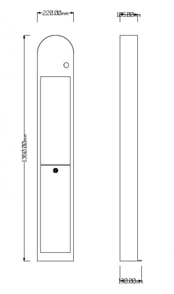 Säule aus Stahlblech zur Anbringung einer Wallbox