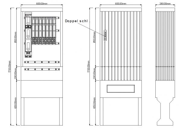 Kabelverteilerschrank für den Außenbereich, PKV60-NH1-7-DS