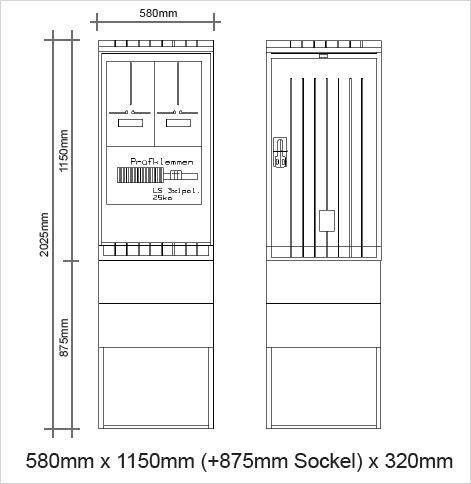 Messschrank 630A komplett 600x1150x320mm