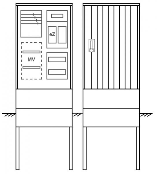 Zähleranschlusssäule PEZ21-2008 Maße:580x1795x320