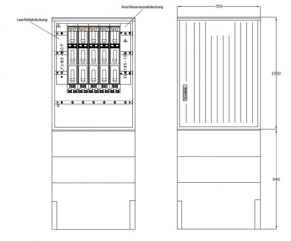 Kabelverteilerschrank für den Außenbereich, PKV78-NH5-ES