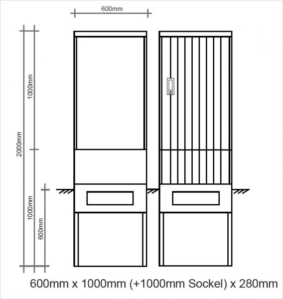 Polyesterkabelverteiler 600x1000x280mm