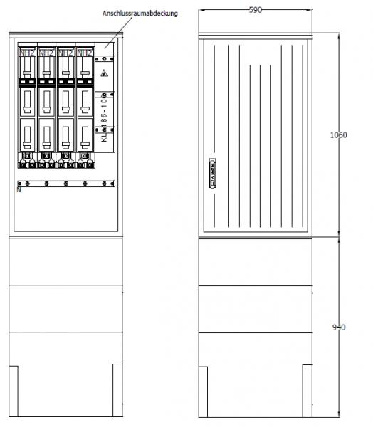 Kabelverteilerschrank für den Außenbereich, PKV59-NH4-ES