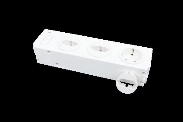 3-fach Steckdose, Einsätze je 90°drehbar | für Geräteträger und Montageplatte