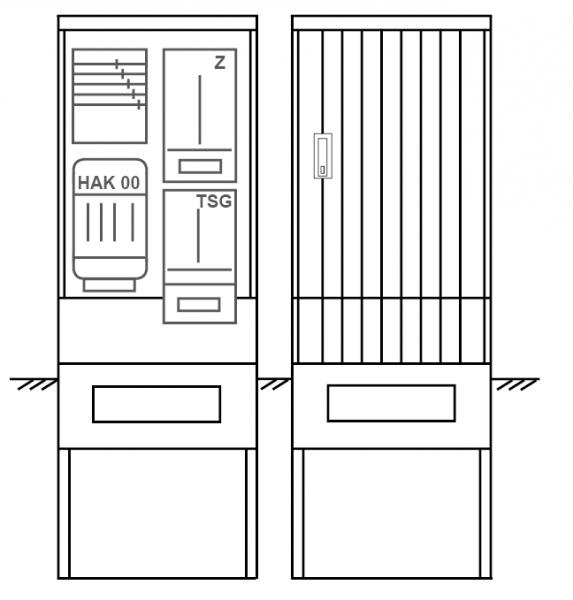 Zähleranschlusssäule PZ21-1033 Maße:600x1700x280