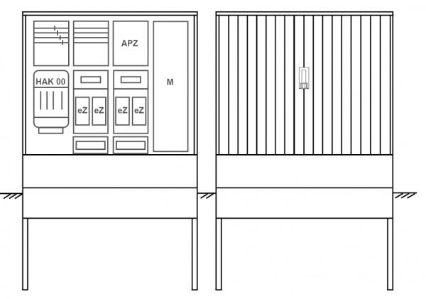 Zähleranschlusssäule PEZ41-2302 Maße:1120x1795x320