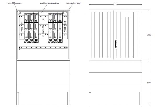 Kabelverteilerschrank für den Außenbereich, PKV112-NH6-ES