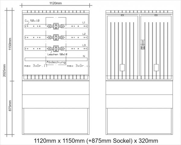 Wandlerschrank 630A komplett 1120x1150x320mm