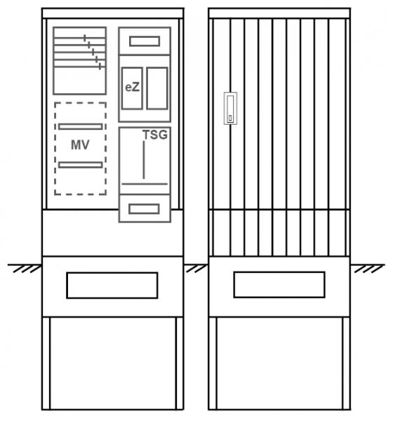 Zähleranschlusssäule PEZ21-1039 Maße:600x1700x280