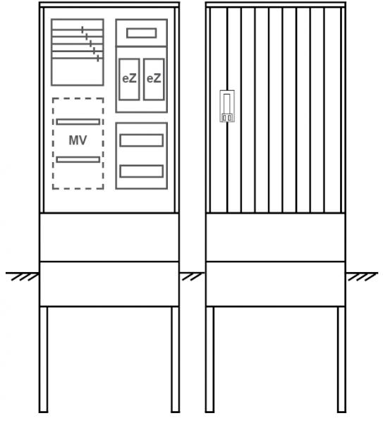 Zähleranschlusssäule PEZ21-1011 Maße:580x1795x320