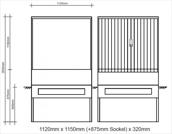 Polyesterkabelverteiler 1120x1150x320mm